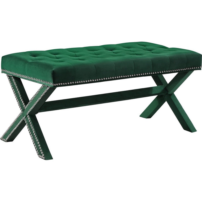 Meridian Furniture Kai Green Velvet BenchMeridian Furniture - Bench - Minimal And Modern - 1