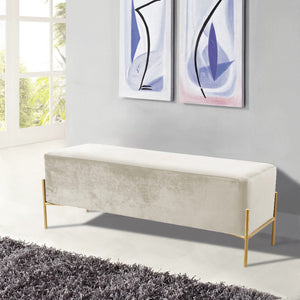 Meridian Furniture Isla Cream Velvet Bench