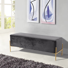 Meridian Furniture Isla Grey Velvet Bench