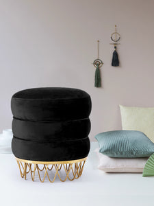 Meridian Furniture Revolve Black Velvet Ottoman/Stool