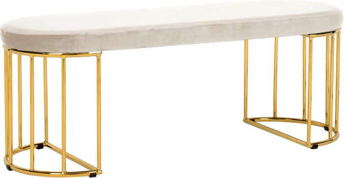 Meridian Furniture Gio Cream Velvet BenchMeridian Furniture - Bench - Minimal And Modern - 1