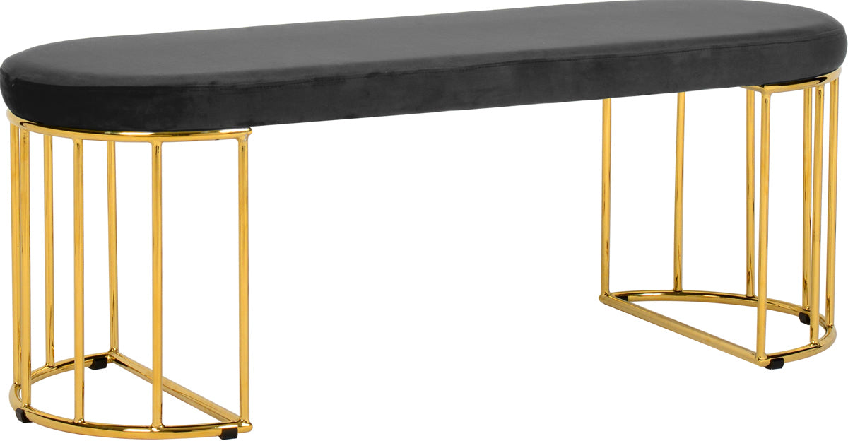 Meridian Furniture Gio Grey Velvet BenchMeridian Furniture - Bench - Minimal And Modern - 1