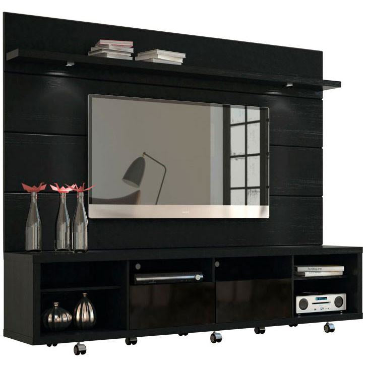 Manhattan Comfort Cabrini 2.2 TV Stand and Panel Black, TV Stands - Manhattan Comfort, Minimal & Modern - 1