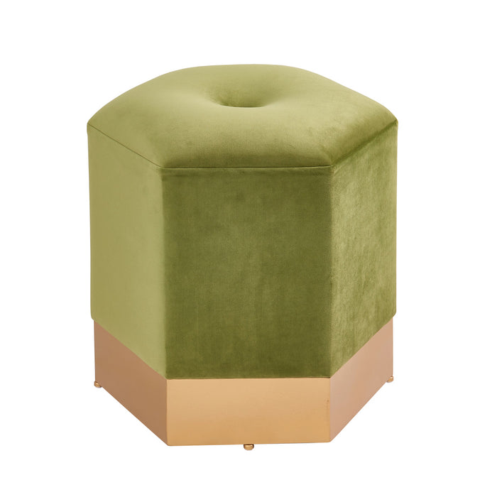 Bella Velvet Fabric Hexagon Ottoman by New Pacific Direct - 1600031