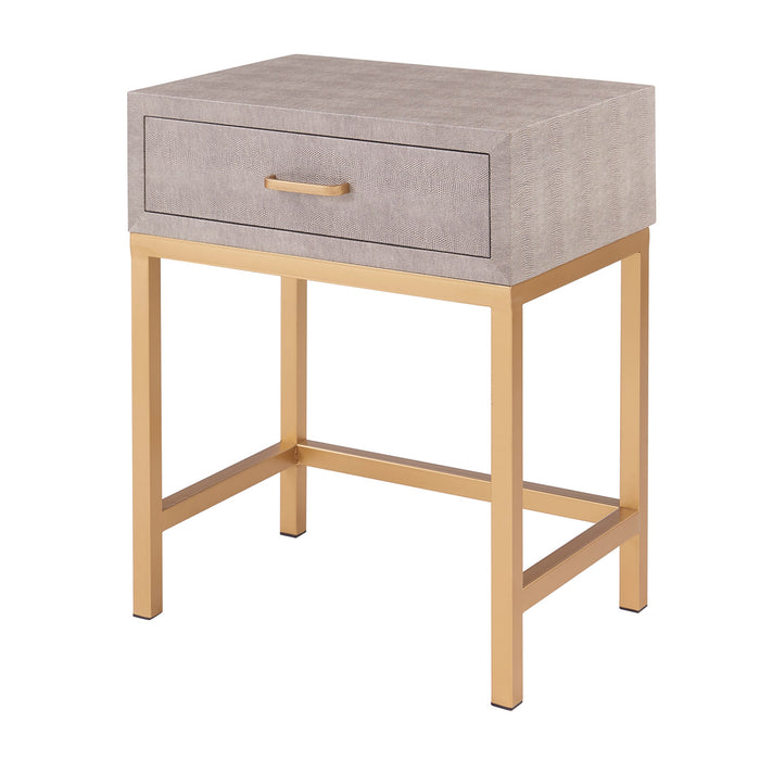 Durham Faux Shagreen 1-Drawer End Table by New Pacific Direct - 1600035