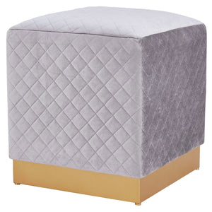 Dante Velvet Fabric Square Ottoman by New Pacific Direct - 1600039