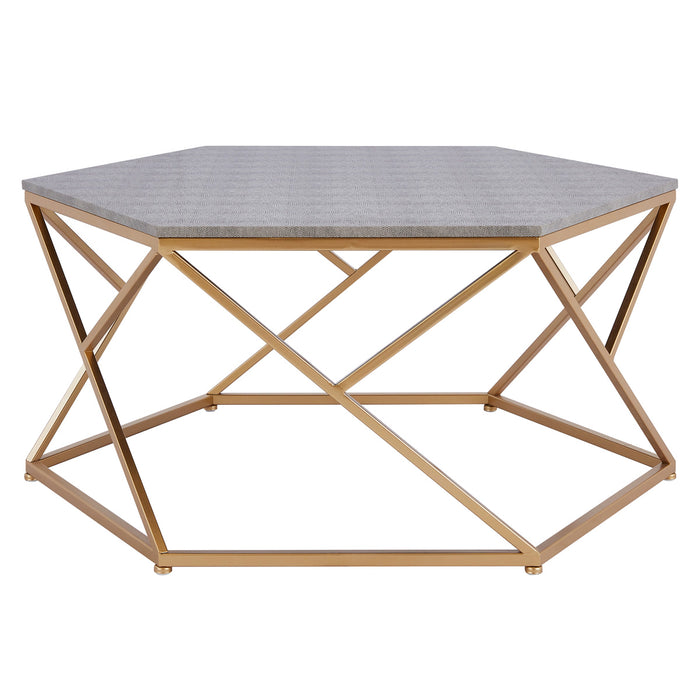 Cressa Hexagon Faux Shagreen Coffee Table by New Pacific Direct - 1600044