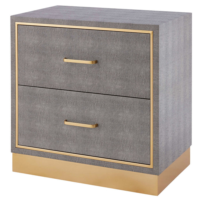 Edinburgh 2-Drawer Faux Shagreen End table by New Pacific Direct - 1600049