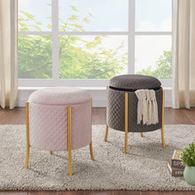 Casper Quilted Velvet Rount Storage Ottoman by New Pacific Direct - 1600058-311
