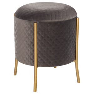 Casper Quilted Velvet Round Storage Ottoman by New Pacific Direct - 1600058-313