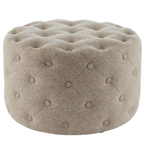 Lulu Round Fabric Tufted Ottoman by New Pacific Direct - 1600073