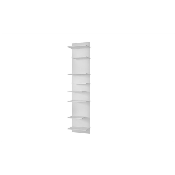 Accentuations by Manhattan Comfort Captivating Nelson Floating Shelf Panel with 8 Shelves in White Manhattan Comfort-Wall Units- - 1