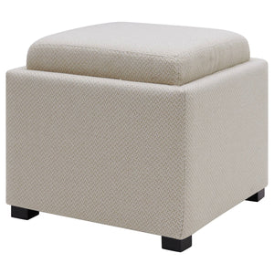 Cameron Square Fabric Storage Ottoman with Tray by New Pacific Direct - 1900163
