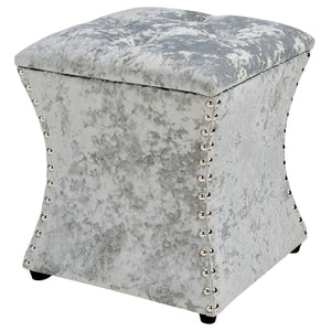 Amelia Velvet Nailhead Tufted Storage Ottoman by New Pacific Direct - 1900131-380