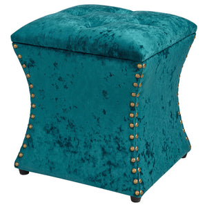 Amelia Velvet Nailhead Tufted Storage Ottoman by New Pacific Direct - 1900131-381