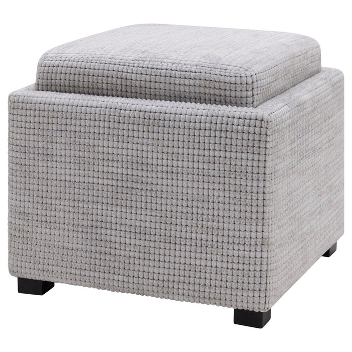 Cameron Square Fabric Storage Ottoman with Tray by New Pacific Direct - 1900132