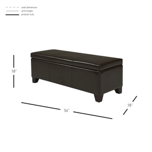 "Luisa 54"" Bonded Leather Storage Ottoman by New Pacific Direct - 194454B-01"