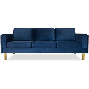 Edloe Finch Lexington Mid-Century Modern Velvet Sofa, Blue Velvet