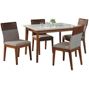 "Manhattan Comfort 5-Piece Lillian 45.66"" and Duke Dining Set  with 4 Dining Chairs in  White Gloss and Grey and BrownManhattan Comfort-- - 1"