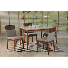 "Manhattan Comfort 5-Piece Lillian 45.66"" and Duke Dining Set  with 4 Dining Chairs in  White Gloss and Grey and Brown"