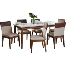 "Manhattan Comfort 7-Piece Lillian 62.99"" and Duke Dining Set  with 6 Dining Chairs in  White Gloss and Dark Beige and Brown Manhattan Comfort-- - 1"