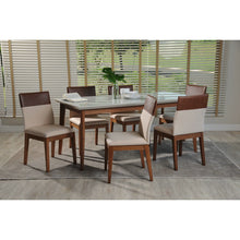 "Manhattan Comfort 7-Piece Lillian 62.99"" and Duke Dining Set  with 6 Dining Chairs in  White Gloss and Dark Beige and Brown"