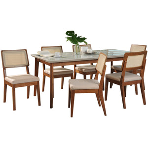 "Manhattan Comfort 7-Piece Lillian 62.99"" and Pell Dining Set with 6 Dining Chairs in Off White and Dark Beige-Minimal & Modern"