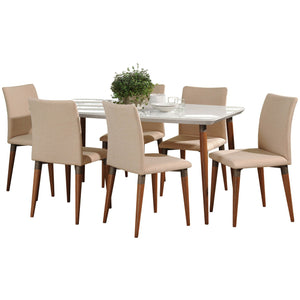 "Manhattan Comfort 7-Piece Charles 62.99"" Dining Set with 6 Dining Chairs in White Gloss and Dark Beige-Minimal & Modern"