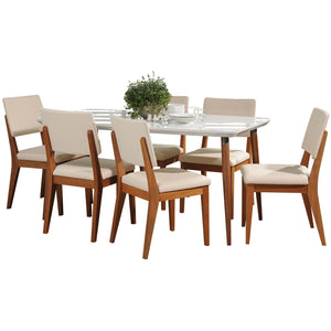 "Manhattan Comfort 7-Piece Charles 62.99"" and Dover Dining Set with 6 Dining Chairs in White Gloss and Beige-Minimal & Modern"
