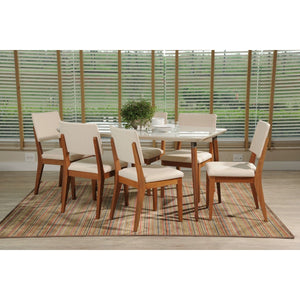 "Manhattan Comfort 7-Piece Charles 62.99"" and Dover  Dining Set  with 6 Dining Chairs in  White Gloss and Beige"