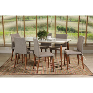 "Manhattan Comfort 7-Piece Charles 62.99"" Dining Set with 6 Dining Chairs in Off White and Grey-Minimal & Modern"