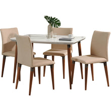 "Manhattan Comfort 5-Piece Charles 45.27"" Dining Set with 4 Dining Chairs in White Gloss and Dark Beige-Minimal & Modern"
