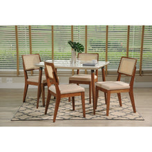 "Manhattan Comfort 5-Piece Charles 45.27"" and Pell Dining Set with 4 Dining Chairs in White Gloss and Dark Beige-Minimal & Modern"
