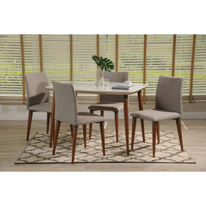 "Manhattan Comfort 5-Piece Charles 45.27"" Dining Set  with 4 Dining Chairs in  Off White and Grey"