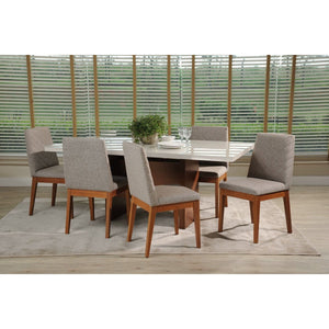 "Manhattan Comfort 7-Piece Dover 72.04"" and Catherine Dining Set with 6 Dining Chairs in White Gloss and Grey-Minimal & Modern"