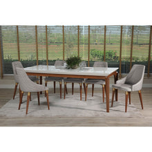 "Manhattan Comfort 7-Piece Payson 82.67"" and Utopia 2.0 Dining Set  with 6 Dining Chairs in  White Gloss and Grey"