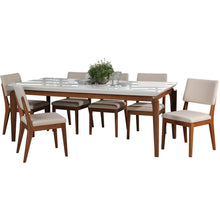 "Manhattan Comfort 7-Piece Payson 82.67"" and Dover Dining Set  with 6 Dining Chairs in  White Gloss and Beige Manhattan Comfort-- - 1"