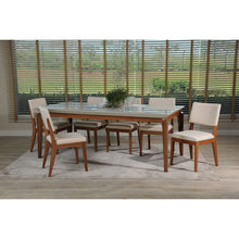 "Manhattan Comfort 7-Piece Payson 82.67"" and Dover Dining Set  with 6 Dining Chairs in  White Gloss and Beige"
