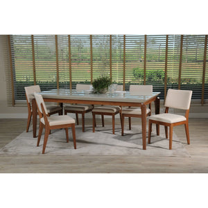 "Manhattan Comfort 7-Piece Payson 82.67"" and Dover Dining Set with 6 Dining Chairs in White Gloss and Beige-Minimal & Modern"