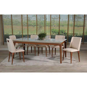 "Manhattan Comfort 7-Piece Payson 82.67"" and Tampa Dining Set with 6 Dining Chairs in Off White and Dark Beige-Minimal & Modern"