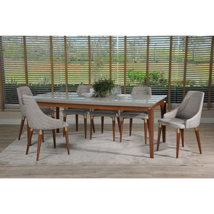 "Manhattan Comfort 7-Piece Payson 82.67"" and Utopia 2.0 Dining Set with 6 Dining Chairs in Off White and Grey-Minimal & Modern"
