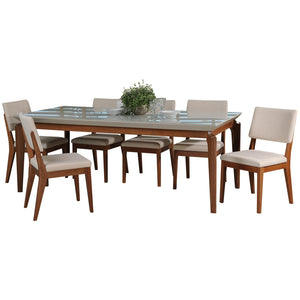 "Manhattan Comfort 7-Piece Payson 82.67"" and Dover Dining Set  with 6 Dining Chairs in  Off White  and Beige Manhattan Comfort-- - 1"