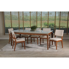 "Manhattan Comfort 7-Piece Payson 82.67"" and Dover Dining Set  with 6 Dining Chairs in  Off White  and Beige"
