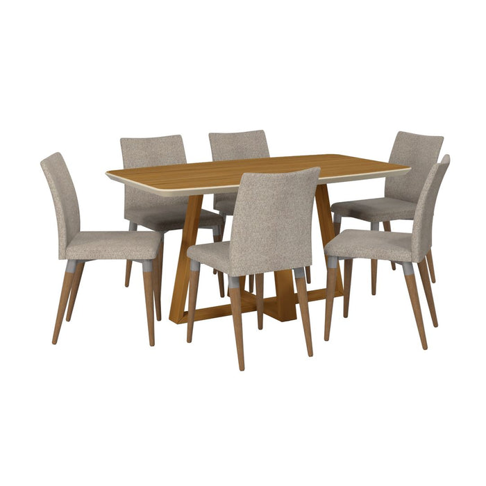 Manhattan Comfort Duffy 62.99 Modern Rectangle Dining Table and Charles Dining Chair in Cinnamon Off White and Grey - Set of 7Manhattan Comfort-Dining Sets - - 1