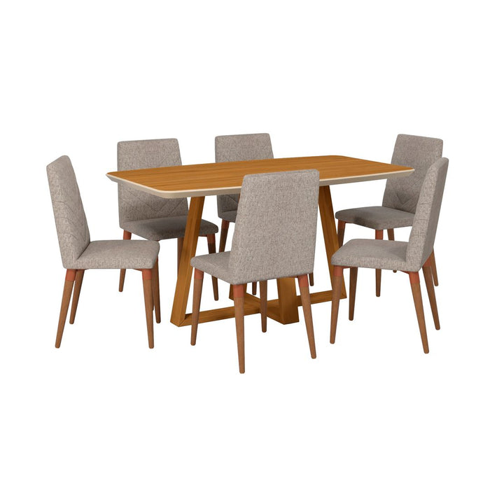 Manhattan Comfort Duffy 62.99 Modern Rectangle Dining Table and Utopia Chevron Dining Chair in Cinnamon Off White and Grey - Set of 7 Manhattan Comfort-Dining Sets - - 1