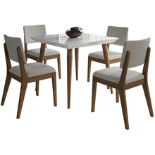 "Manhattan Comfort 5-Piece Utopia 35.43"" and Dover Dining Set with 4 Dining Chairs in White Gloss and Beige-Minimal & Modern"