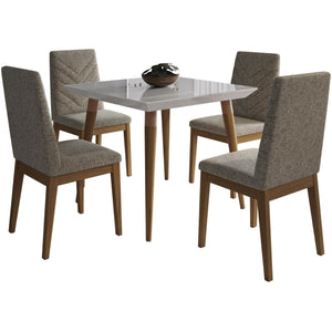 "Manhattan Comfort 5-Piece Utopia 35.43"" and Catherine Dining Set  with 4 Dining Chairs in  Off White  and Grey Manhattan Comfort-- - 1"