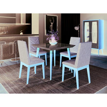 "Manhattan Comfort 5-Piece Utopia 35.43"" and Catherine Dining Set with 4 Dining Chairs in Off White and Grey-Minimal & Modern"