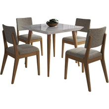 "Manhattan Comfort 5-Piece Utopia 35.43"" and Dover Dining Set with 4 Dining Chairs in Off White and Grey-Minimal & Modern"