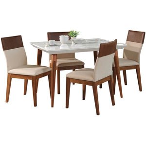 "Manhattan Comfort 5-Piece Utopia 47.24"" and Duke Dining Set  with 4 Dining Chairs in  White Gloss and Dark Beige and Brown Manhattan Comfort-- - 1"